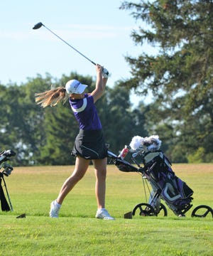 Lakeview's Annabelle Minneman watches her drive during the Spartan Invitational at Cedar Creek Golf Course on Friday.