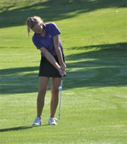 Lakeview's Alexa Thurman hits the green at Cedar Creek Golf Course during Friday's Spartan Invitational.