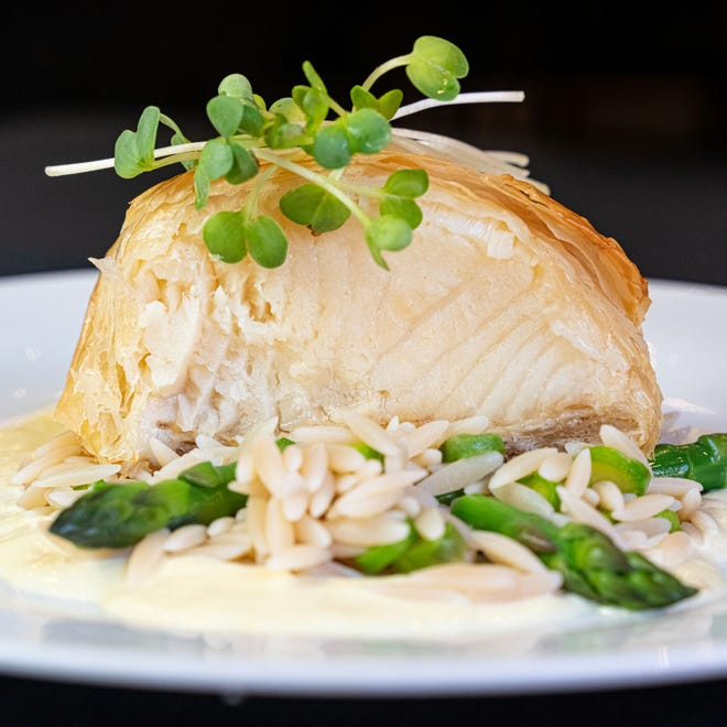 Filo-wrapped Sea Bass is on the menu Sept. 3 and 4, when Café Margaux explores wines from Marchesi Antinori, a 26-generation Italian wine maker credited with creating Super Tuscans.