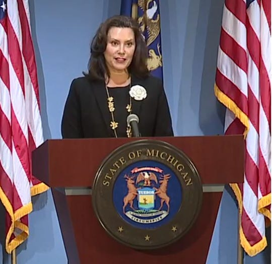 Gov. Gretchen Whitmer speaks during a press conference Tuesday, Aug. 25, 2020, in Lansing.