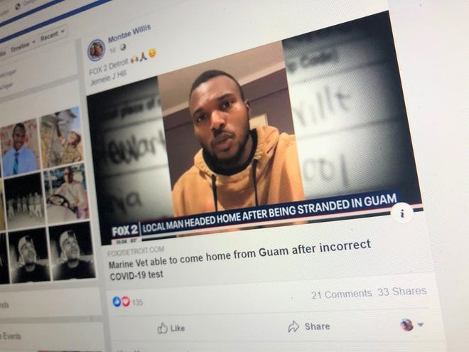 A photo of Montae Willis' Facebook news feed showing a thumbnail photo of his local news in Detroit that shared his story.