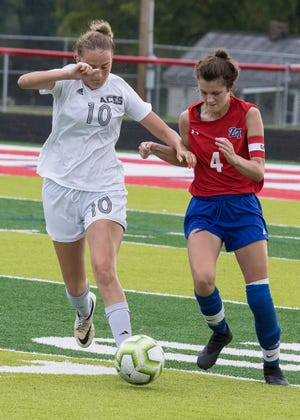 Amanda-Clearcreek's Jaiden Collins (#10) and Zane Trace's Savannah Addy (#4) battle over possession of the ball during a game at Zane Trace High School on August 24, 2020, in Chillicothe High School. Zane Trace fell to Amanda Clearcreek 3-2.