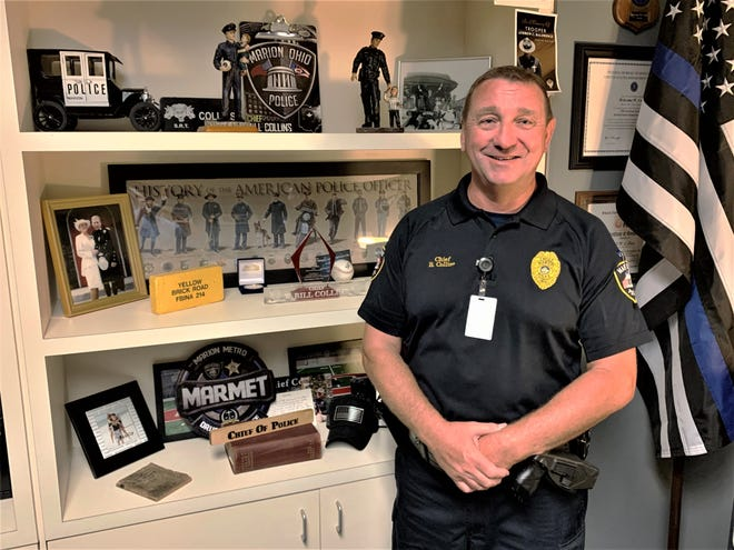 Chief Bill Collins is retiring from the Marion Police Department, effective Oct. 1, 2020. He began his law enforcement career in 1985 with the Marion County Sheriff's Office. He joined the Marion Police Department in 1989. Collins was sworn in as the department's 14th chief of police on Feb. 24, 2014.