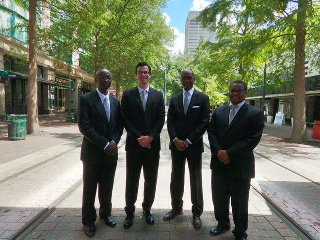 The team of four doctors and dedicated staff of twenty work together to meet the needs of patients at Memphis Oral &  Maxillofacial Surgery Group. Left to right--Joseph Olayinka Majekodunmi, DDS; Matthew J. Breit, DDS; Richard D. Meekins, DDS; Ronald C. Staples, DDS, FACS.