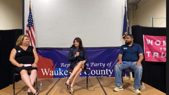 Former Lt. Gov. Rebecca Kleefisch, Milwaukee GOP Vice Chair Chris Lawrence and Assembly District 22  Rep. Janel Brandtjen spoke at a Trump campaign event on Monday night in Waukesha.