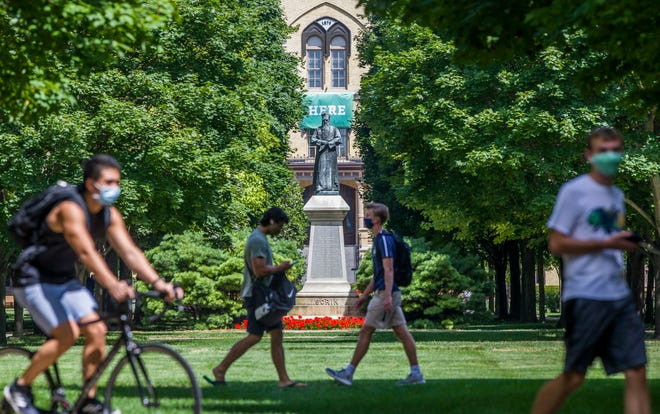 Students return to Notre Dame's campus for the fall semester this month in South Bend, Indiana.