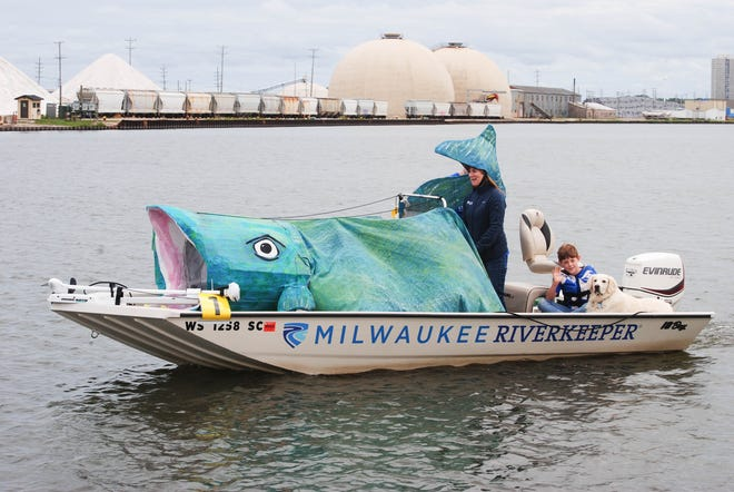 The Milwaukee RIverkeeper boat takes part in the 3rd annual Boat Parade as part of Harbor Fest on Sept. 8, 2019.