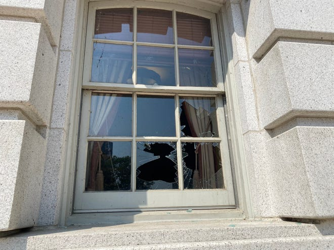 For the second time in recent months, windows at the Wisconsin State Capitol in Madison where shattered during evening protests Aug. 24, 2020.