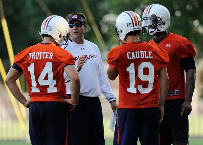 Auburn offensive coordinator Gus Malzahn talks to his quarterbacks, from left, Barrett Trotter, Neil Caudle and Cameron Newton during NCAA college football practice Thursday, Aug. 5, 2010, in Auburn, Ala. (AP Photo/Todd J. Van Emst)