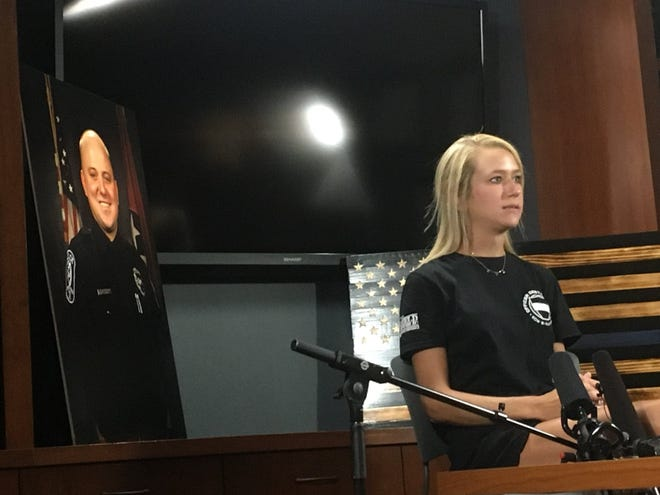 Heather Legieza, widow of Brentwood Police Officer Destin Legieza, speaks out publicly for the first time since her husband's death in June.