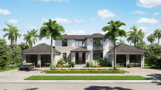 Rendering of Stock Custom Homes' 6,000+ square foot under air residence at 7190 Tory Lane in Bay Colony.