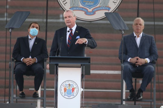 Gov. Phil Murphy addresses members of the New Jersey Legislature in SHI Stadium at Rutgers University in Piscataway on Aug. 25, when he announced his budget.