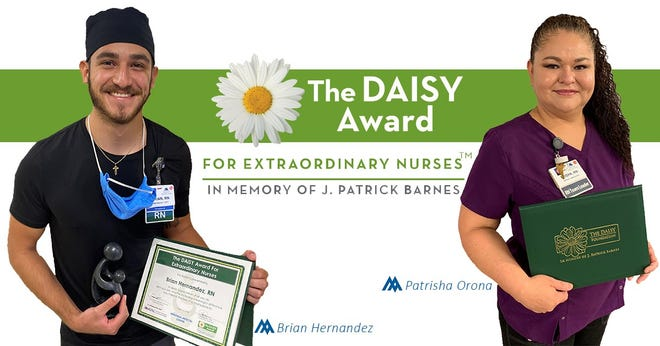 The DAISY Award recipients at Memorial Medical Center are Brian Hernandez and Patrisha Orona. Hernandez and Orona were nominated by family members of the patients they cared for.