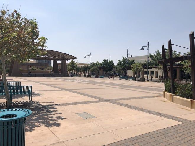 The Plaza de Las Cruces downtown sits empty on Aug. 25, 2020.