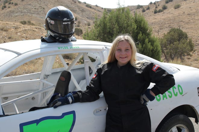 Within four months, Farmington's Mylee JoAnn Rhames already has 33 stock car races to her name, including her first victory last weekend in Cortez, Colorado.