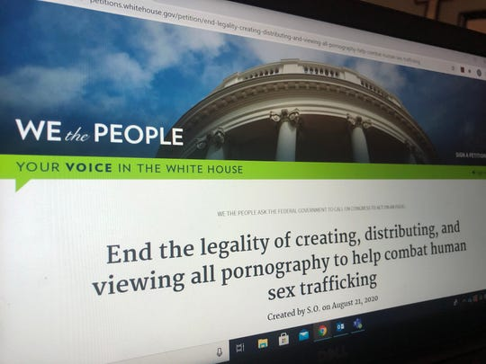Petition to the White House on ending human sex trafficking.