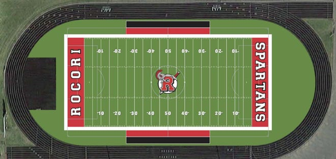 An artist's rendering of the proposed multi-sport turf field at ROCORI High School is shown Monday, Aug. 24, 2020. The almost $800,000 field proposal was approved by the ROCORI School Board on Monday night. The field is subject to change in appearance.