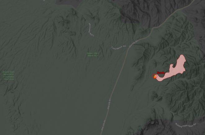 The 500-acre Scrub Fire burning in Utah's remote southwest corner near Old U.S. 91.