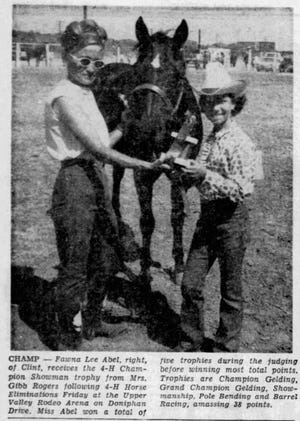 Feb. 2, 1969: Fawn Lee Abel, right, of Clint, receives the 4-H Championship Showman trophy from Mrs. Gibb Rogers following the 4-H Horse Eliminations at the Upper Valley Rodeo Arena on Doniphan Drive.