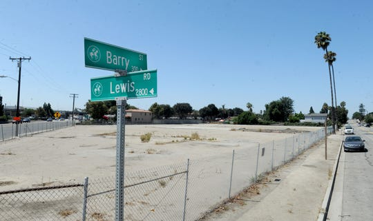 The Stock Building Supply store has been demolished at the corner of Barry Street and Lewis Road in Camarillo to make way for about 60 units of affordable housing.