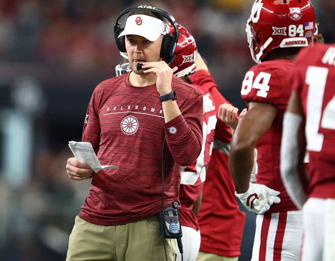 Oklahoma coach Lincoln Riley stands on the sidelines during the 2019 Big 12 championship game against Baylor at AT&T Stadium.
