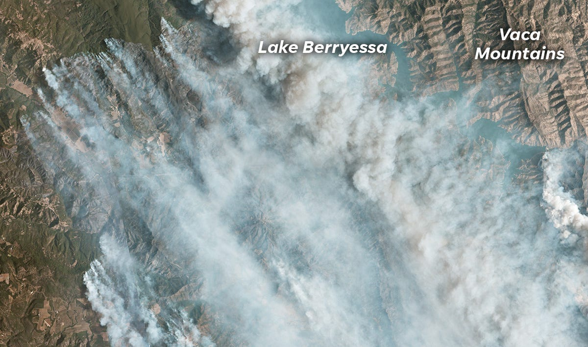 The LNU Lightning Complex burns near Lake Berryessa, East of Napa Valley.