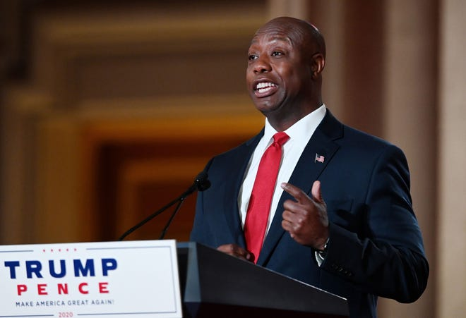 US Republican Senator for South Carolina Tim Scott speaks during the first day of the Republican convention at the Mellon auditorium on August 24, 2020 in Washington, DC