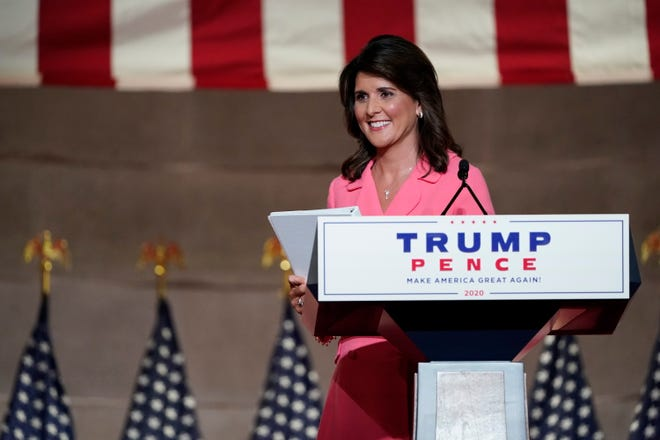 Former U.N. Ambassador Nikki Haley spoke on Monday, the first night of the Republican National Convention.