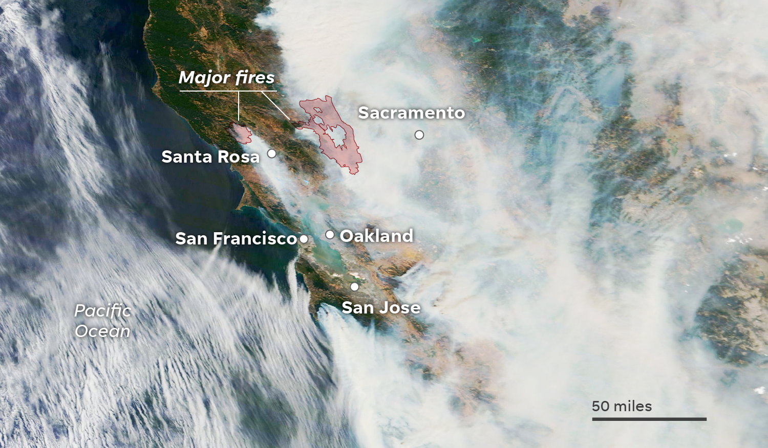 An overview of the LNU Lightning Complex shows smoke engulfing Santa Rosa, The Bay Area and Sacramento