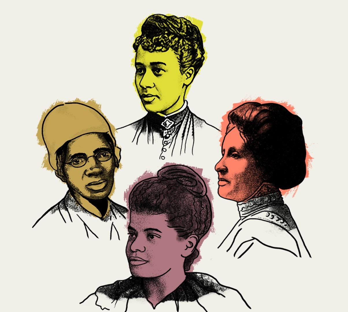 Sojourner Truth, Anna Julia Cooper, Mary Church Terrell and Ida B. Wells