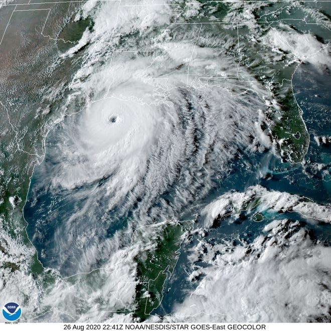 Hurricane Laura heads toward the Louisiana coast on Wednesday.