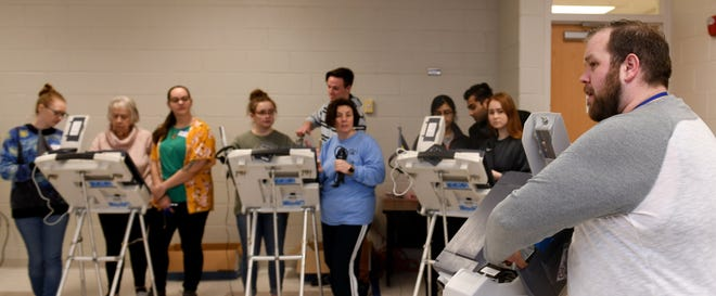 The Stark County Board of Elections trainer Andrew Reed works to trains new poll workers at  Stark County Board of Elections.  Monday, March 16, 2020.   (CantonRep.com / Julie Vennitti)