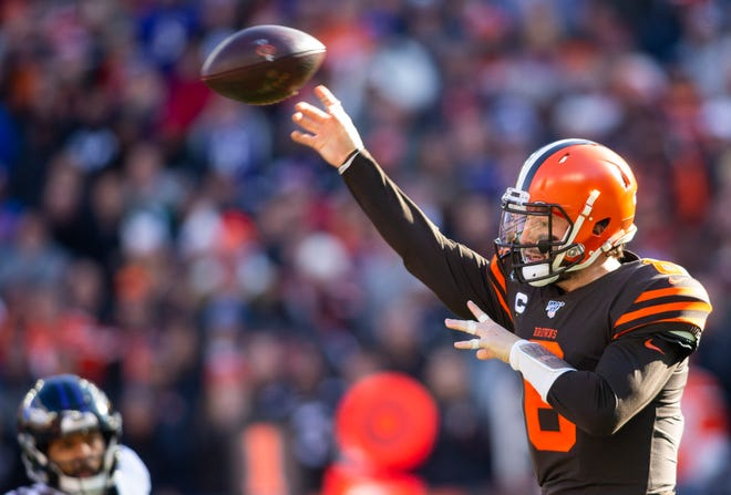 Cleveland Browns quarterback Baker Mayfield (6) throws the ball during the first quarter against the Baltimore Ravens at FirstEnergy Stadium.