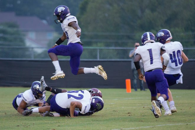 Spring Hill High School and Columbia Central High School face-off in the opening game of the season in Spring Hill, Tenn., on Friday, Aug. 21, 2020.