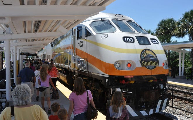 A SunRail train stops at the northernmost station, in DeBary, to pick up passengers headed toward Orlando. Could a DeLand station be built next?