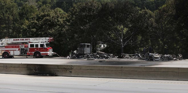 The Akron Fire Department at the scene of a car/tanker crash Rt. 8 northbound between Tallmadge Avenue and Howe Avenue Tuesday, Aug. 25, 2020 in Akron, Ohio.