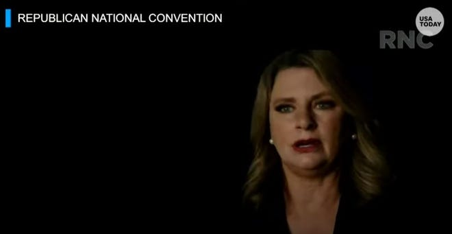 Cathlee Tomkow appeared in a video segment at the Republican National Convention on Tuesday.