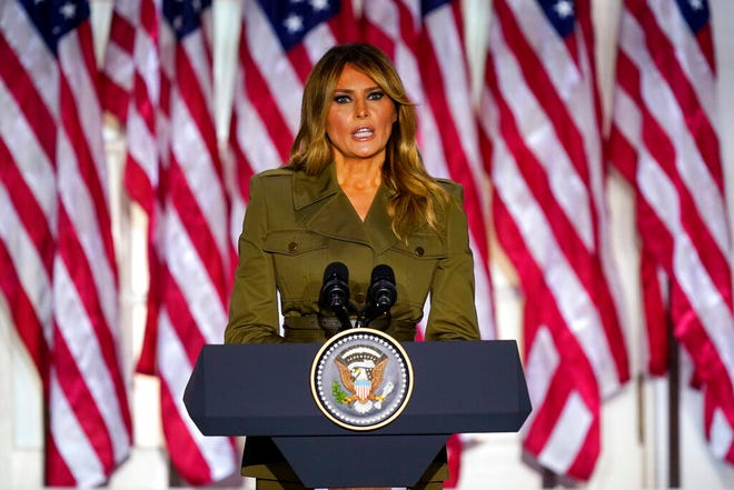 First lady Melania Trump speaks on the second day of the Republican National Convention from the Rose Garden of the White House Tuesday in Washington.