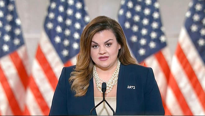 In this image from video, Abby Johnson speaks from Washington, during the second night of the Republican National Convention on Tuesday, Aug. 25, 2020.