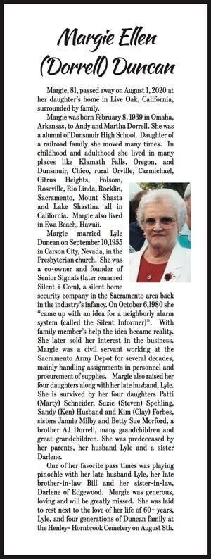 Obituary: Margie Ellen Duncan