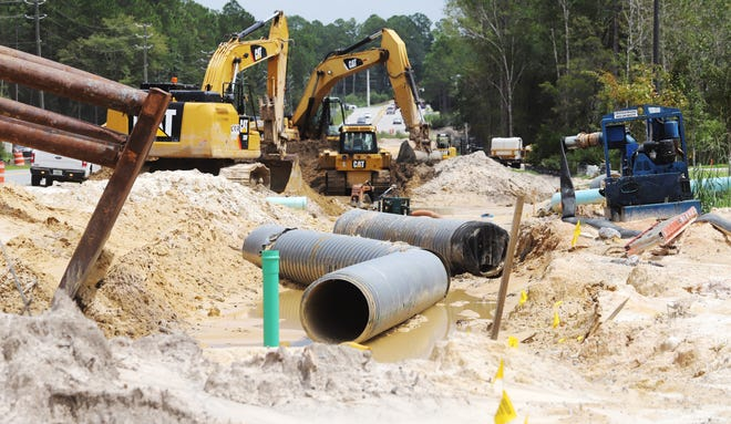 Storm water infrastructure being installed as construction of the new lanes on PJ Adams Parkway in Crestview continues.
