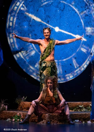 """Stephen Heger plays Oberon and Sarah Grant is Puck in Palm Beach Shakespeare Festival's socially distanced video of """"A Midsummer Night's Dream."""" [Photo by Chuck Andersen]"""