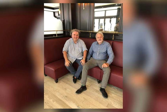 Thierry Miroir and Jean Denoyer pose on a banquette at La Goulue, which is set to open in Palm Beach later this year.  [Photo by Roberta Sabban]