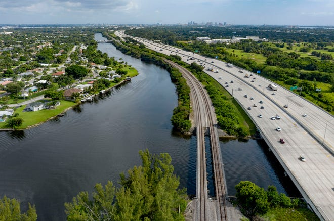 The C -51 canal was dredged in about a  5-acre area just west of I95 to create a sediment trap in West Palm Beach, Florida on August 20, 2020. [GREG LOVETT/palmbeachpost.com]