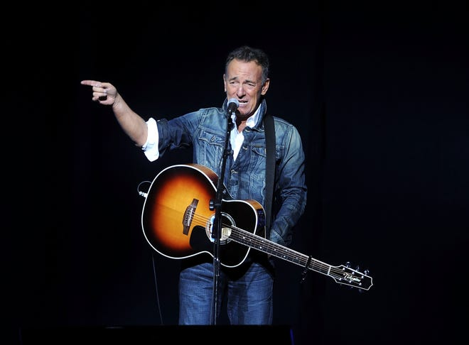 FILE - In this Nov. 5, 2018 file photo, Bruce Springsteen performs at the 12th annual Stand Up For Heroes benefit concert at the Hulu Theater at Madison Square Garden in New York.