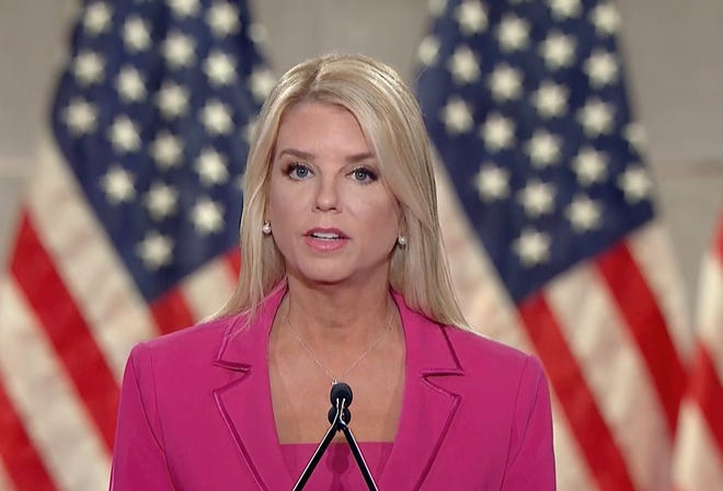 Pam Bondi, the former Florida attorney general, addresses the Republican National Convention via video on Tuesday, Aug. 25, 2020. (Republican National Convention via The New York Times)