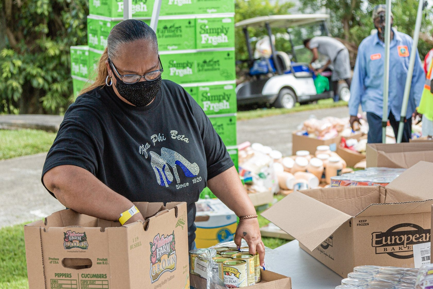 Tammy Jackson Moore, a community organizer and leader and founder of Guardians of the Glades, at New Birth Deliverance Church in Belle Glade, Friday, August 21, 2020. Moore's organization was distributing food to those in need in the community.