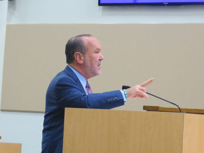 Ron Book at a September 2016 meeting of the Palm Beach County Commission. The political lobbyist recently filed a civil suit against former pet store owner Nathan Kalichman, who he claims stole his hyacinth macaw, Blue.