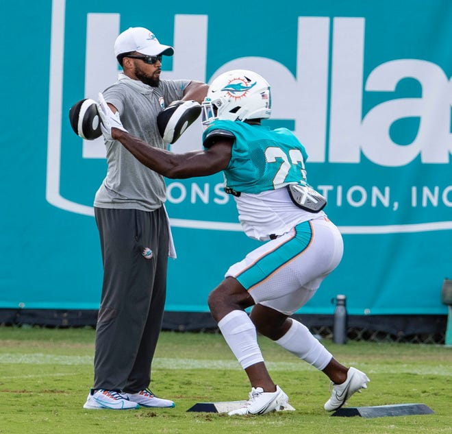 Miami Dolphins cornerback Noah Igbinoghene (23) at Miami Dolphins training camp August 26, 2020.  [ALLEN EYESTONE/The Palm Beach Post]