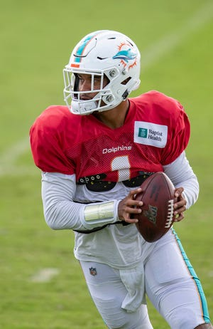 Miami Dolphins quarterback Tua Tagovailoa (1) at Miami Dolphins training camp August 26, 2020.  [ALLEN EYESTONE/The Palm Beach Post]